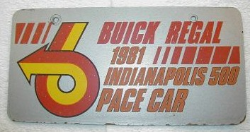 real 81 pace car lic pl