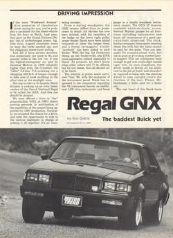 87 regal gnx road test
