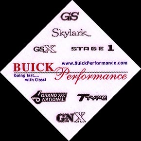 BUICK PERFORMANCE STATIC CLING DECAL