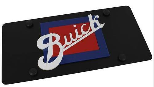 carbon black retro buick logo license plate