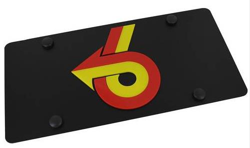 carbon black turbo 6 logo license plate