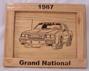 1987 Buick Grand National Car Picture Plaque Wood Frame