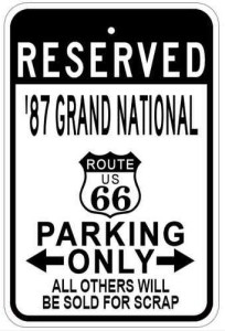 route 66 1987 buick grand national sign