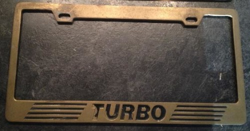 turbo license plate frame