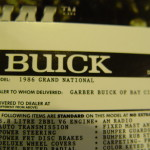 86 Buick GN mini window sticker