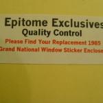 Epitome Exclusives window sticker envelope