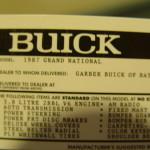 gmp buick replica window sticker