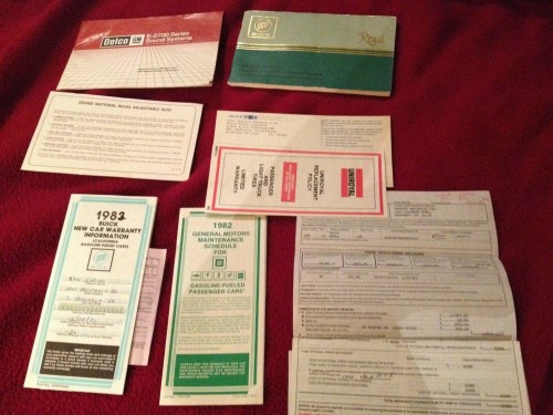 1982 buick paperwork