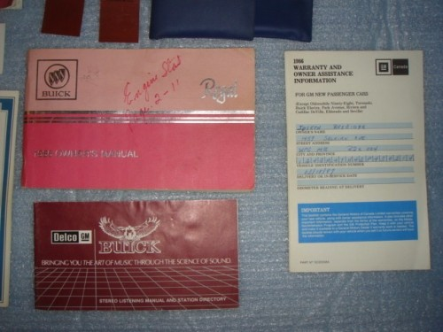 1986 Buick Regal Owners Manual and Supplement Package 3