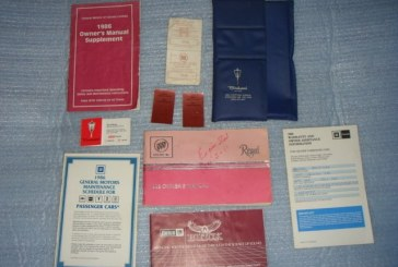 1986 Buick Regal Owners Manual and Supplement Package
