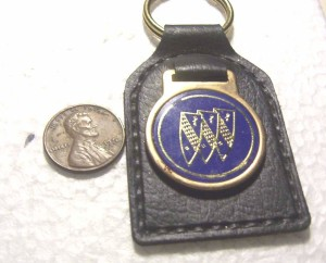 BUICK TRI SHIELD LEATHER BLUE GOLD KEY CHAIN
