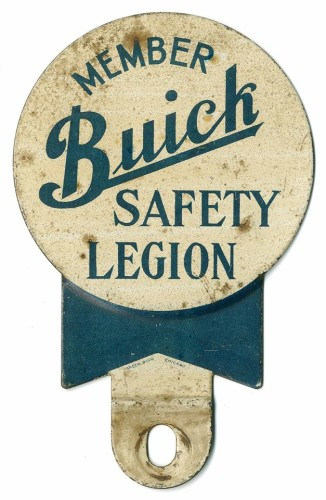 1936 Buick Safety Legion license plate topper