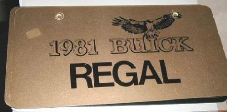 1981 regal plate
