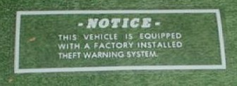THEFT WARNING DECAL