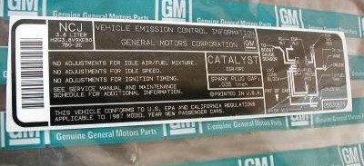 california vehicle emissions control label
