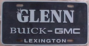 Glenn Buick GMC dealership plate