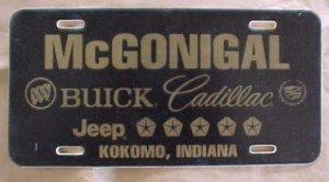 McGonigal Buick plastic license plate