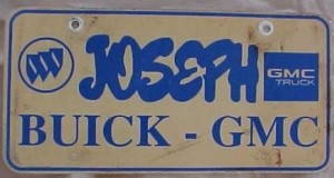 joseph buick gmc plate