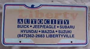 liberty auto city license plate