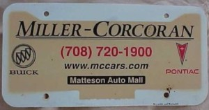 miller corcoran dealership plate