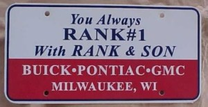 rank & son dealership plate