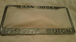 San Jose Smythe Buick Dealership License Tag Frame