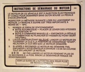 starting instructions decal canadian buick