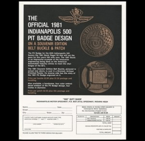 1981 indy 500 belt buckle literature