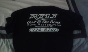bad to the bone auto restoration shirt