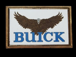 1970s BUICK SOLID BRASS BELT BUCKLE