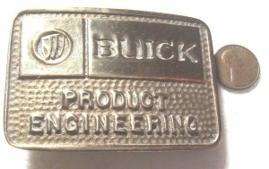 BUICK PRODUCT ENGINEERING SOLID BRASS BELT BUCKLE