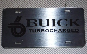 buick turbocharged brushed metal plate