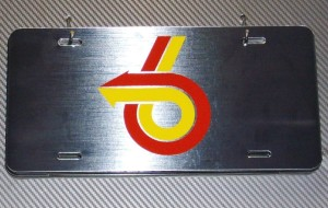 turbo 6 arrow brushed metal plate