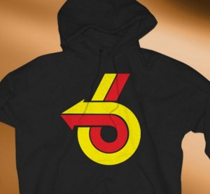 red yellow turbo 6 logo hoodie