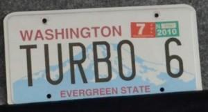 turbo 6 vanity license plate