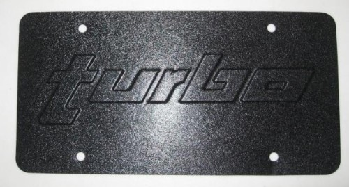 embossed turbo front license plate