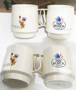 BUICK SAM THE EAGLE OLYMPIC COFFEE CUPS