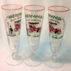 1905 BUICK MODEL C PILSNER CHAMPAGNE GLASSES