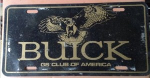 Buick GS Club of America License Plate