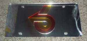 Power 6 License Plate Chrome Plastic