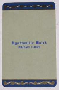 hyattsville buick dealer playing card