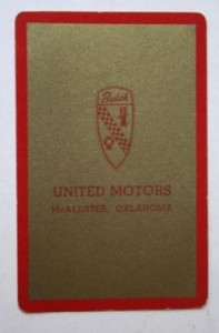 united motors buick playing card