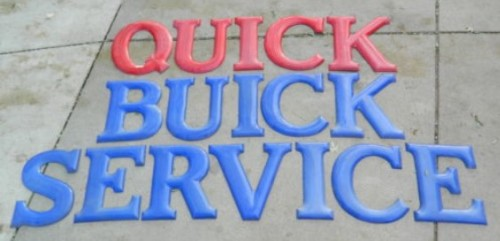 1930s Quick Buick Service 24inch Porcelain Letters Sign