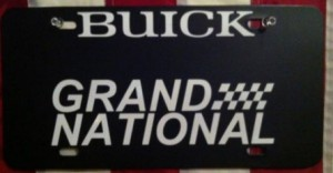 BUICK GRAND NATIONAL custom front novelty license plate