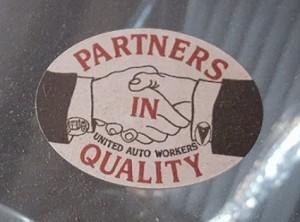 partners in quality UAW sticker