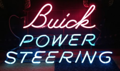 1950s Buick Power Steering Pink Blue Neon Sign