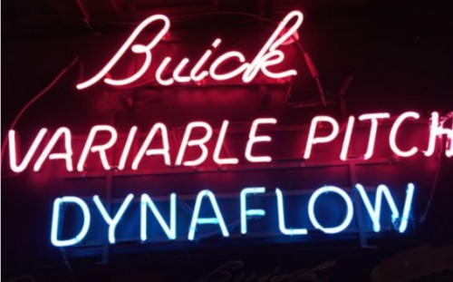 1950s Buick Variable Pitch Dynaflow Pink Blue Neon Sign