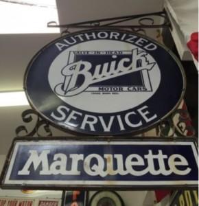 Buick Authorized Service Marquette Porcelain Sign
