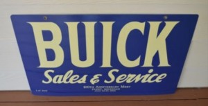 OLD BUICK SALES AND SERVICE LIMITED EDITION OF 300 PORCELAIN SIGN