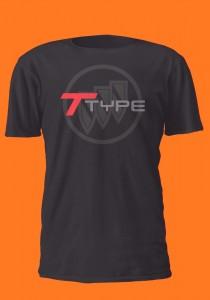 t type over buick triple shield logo shirt